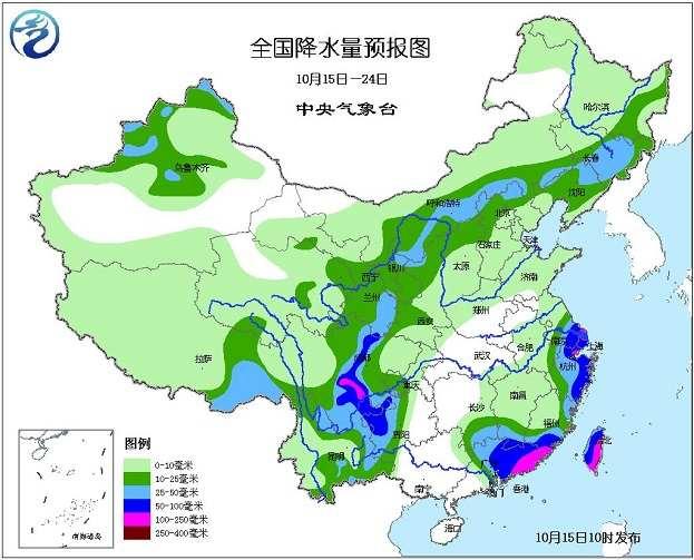 年10月15日中央气象台未来十天中央天气预报