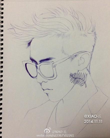 bigbang权志龙g-dragon手绘圆珠笔画像图片