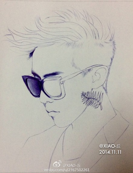 bigbang权志龙g-dragon手绘圆珠笔画像图片(2)
