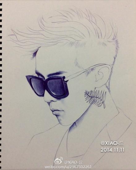 bigbang权志龙g-dragon手绘圆珠笔画像图片(3)
