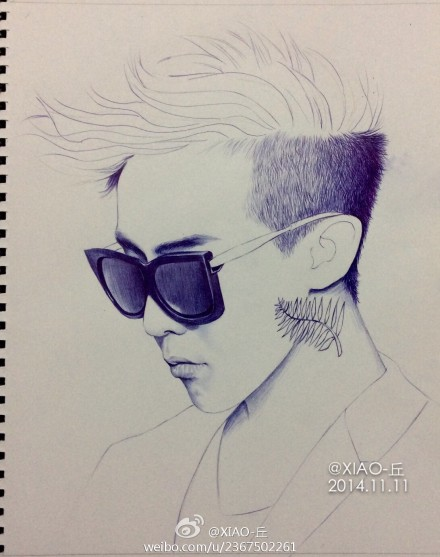 bigbang权志龙g-dragon手绘圆珠笔画像图片(4)