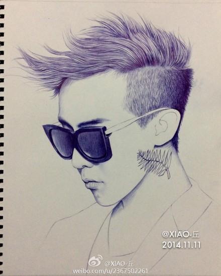 bigbang权志龙g-dragon手绘圆珠笔画像图片(5)