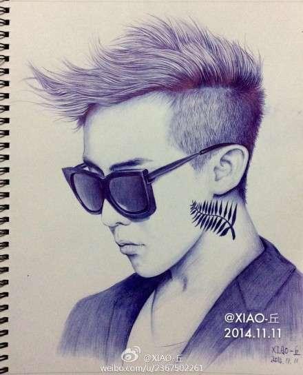 bigbang权志龙g-dragon手绘圆珠笔画像图片(6)